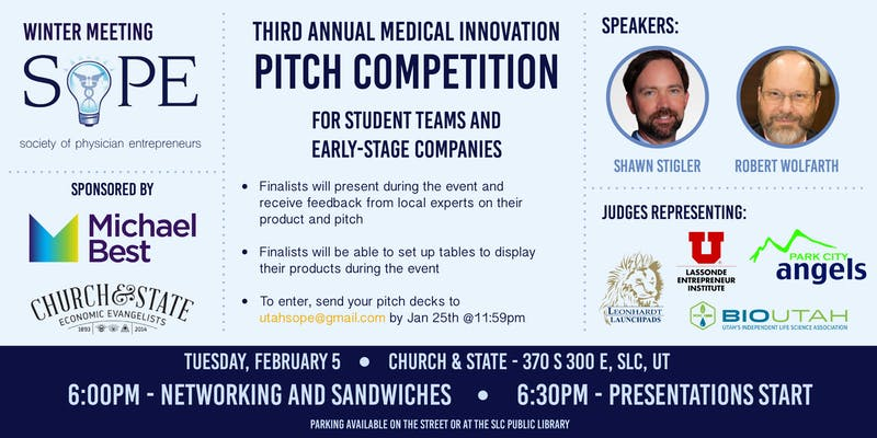 SoPE Utah: Third Annual Medical Innovation Pitch Competition